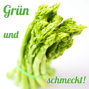 Grün und schmeckt, grüner Spargel erstmals, nur für eine kurze Zeit, Garlipp-Spargel